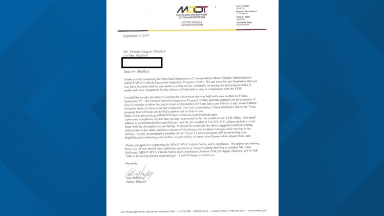 MD MVA sent a letter to Waltjen Shedlick with an apology and an extension.