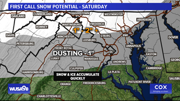 Snow, sleet and freezing rain could cause slick roads Saturday in the DMV