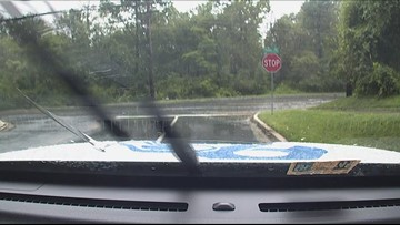 Water on road during Wednesday severe storms