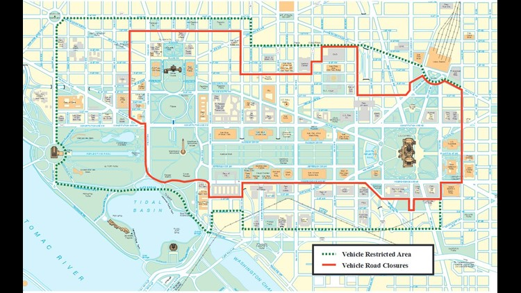 Closeup of road closures for the presidential inuaguration. (Courtesy U.S. Secret Service)