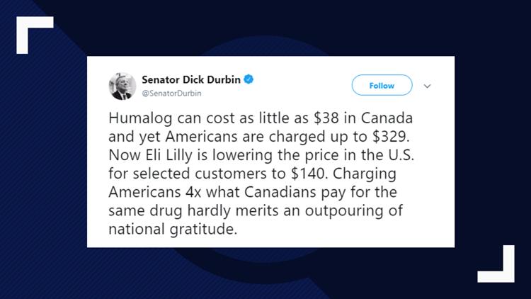 Dick Durbin Humalog Tweet