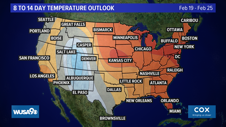 Temperature outlook for late February