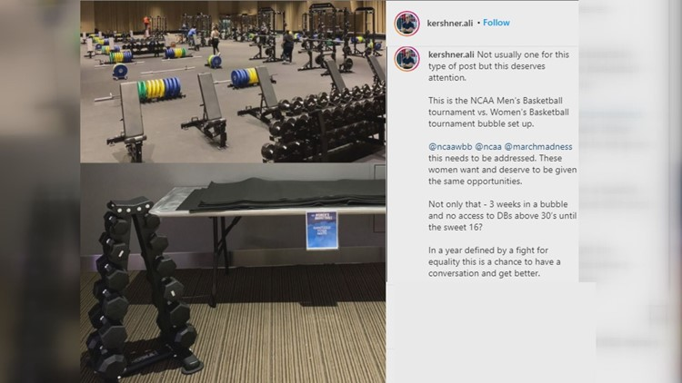 Photo of NCAA men's and women's weight room comparison goes viral