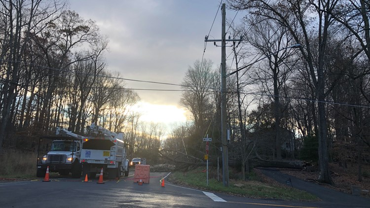 Reports of wind damage, road closures