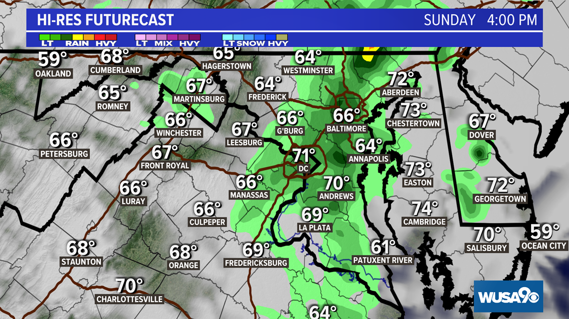 Cloudy with isolated showers on Sunday. Here's a look at this weekend's forecast