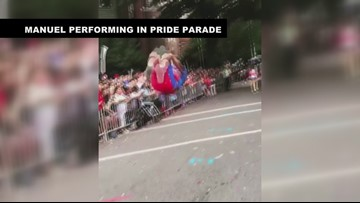 Manuel performing in Pride Parade
