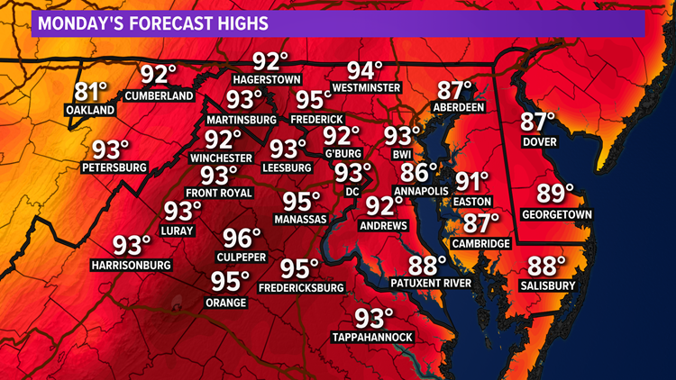 Hot & humid again on Monday with PM storms possible. Here's the latest forecast