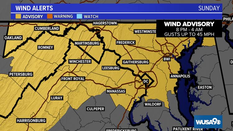 Severe storms move through the DMV Sunday; wind advisory tonight