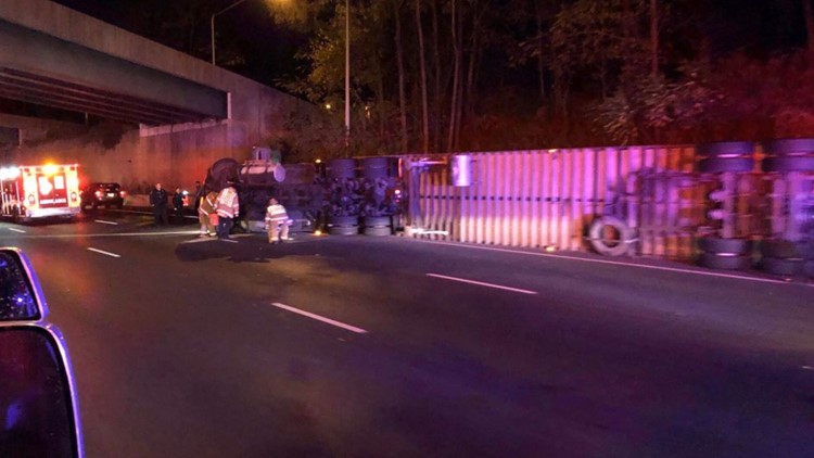 Overturned tractor-trailer near Rockville Pike