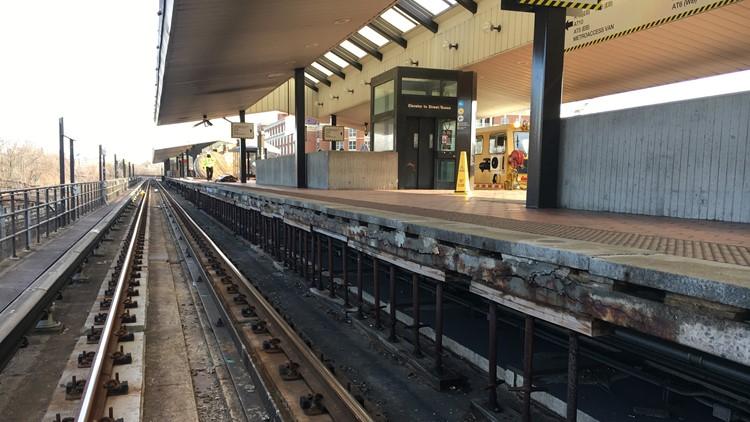 King Street Metro station cracked concrete