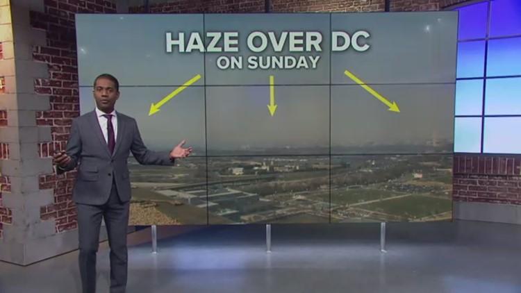 Hazy sky over DC on Sunday