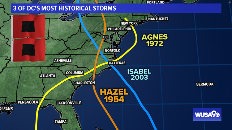 3 DC most historical hurricanes