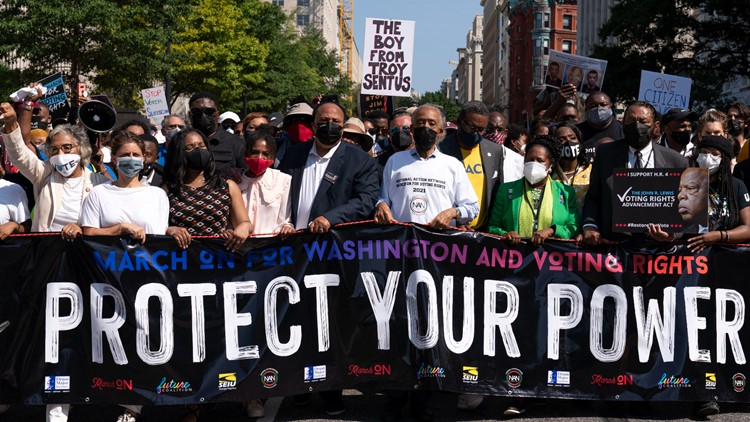 Marchers in DC and across the US call on Congress to bolster voting rights