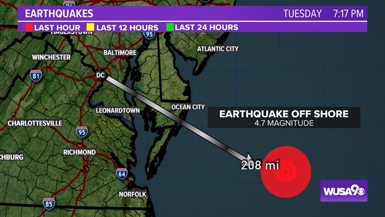 4.7 magnitude earthquake reported offshore near Ocean City, Maryland