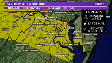 More severe storms are possible Sunday afternoon in DC, MD & VA