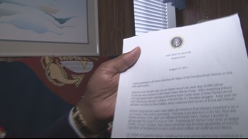 Staff Sgt. Groves reads honorary letter from Pres. Obama