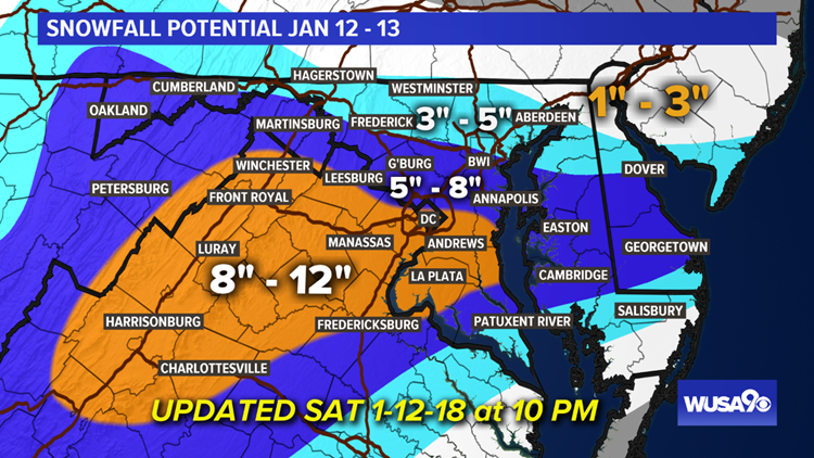 Forecast Snowfall Map for Jan 12-13 as of 10 PM Saturday night