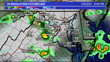 TIMELINE: A few storms develop this evening, some could be heavy