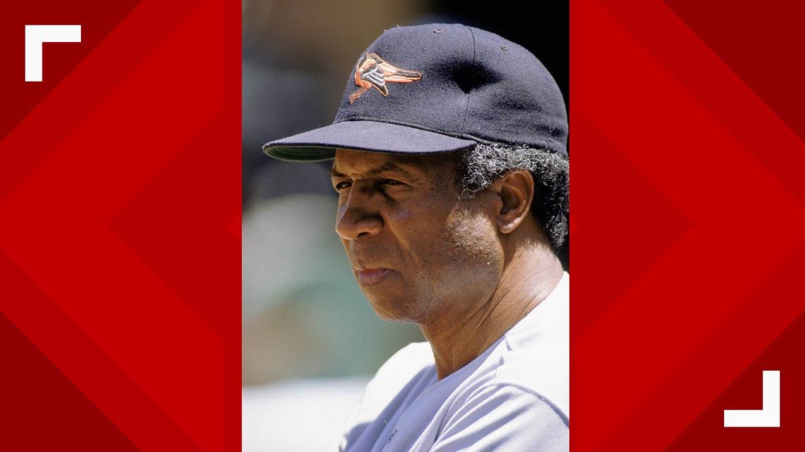 bc838f9a 1989: Manager Frank Robinson (the first black manager of MLB) of the  Baltimore Orioles looks on during a game in the 1989 season.