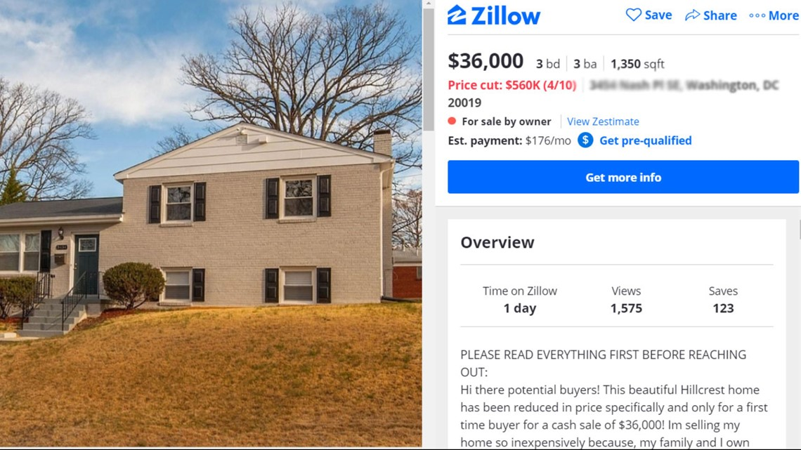 Property Scam This Zillow Listing Is Fake Wusa9 Com