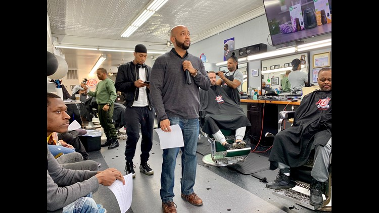 "Tariiq Walton leading ""The Shape Up"" series at Lee's Barbershop in SE."