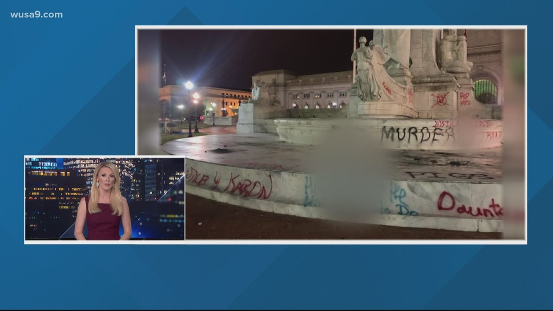 DC protesters vandalize Christopher Columbus statue near Union Station