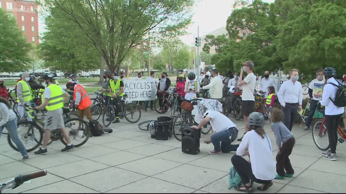 Dozens rally for memorial ride to honor cyclist hit, killed in DC
