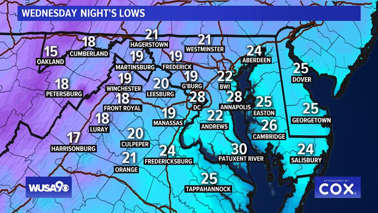 Forecast Lows Wednesday Night