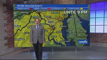 Severe Thunderstorm Warnings west, Severe Thunderstorm Watch in effect for DC, Maryland, Virginia
