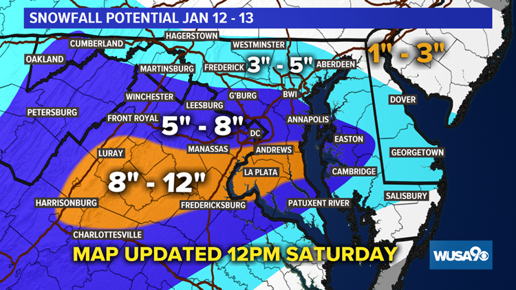 Snowfall Potential Updated 12PM 1-12-19