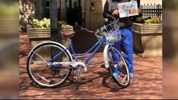 We're in this together: Community donates bike to nurse walking to walk