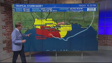 Tropical Storm Barry taking aim at Louisiana Coast with up to 25 inches of rain