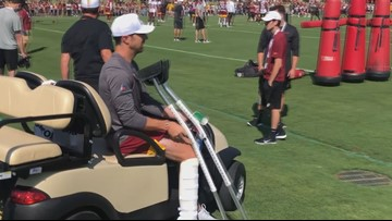 Redskins' Alex Smith makes training camp appearance