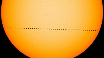 Mercury perfectly aligned with the face of the sun for 5.5 hours