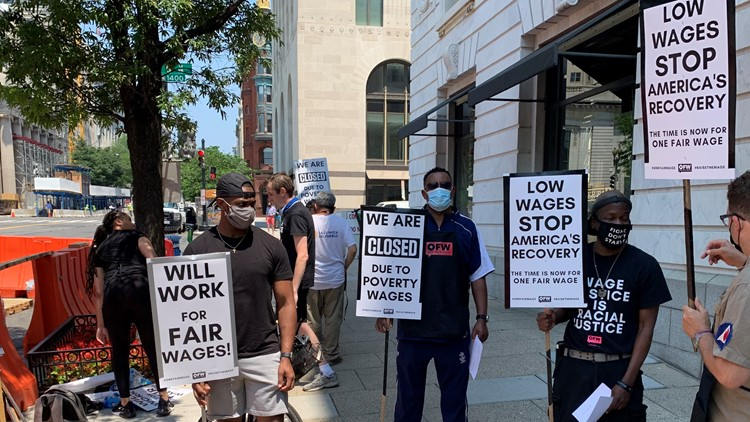 Hospitality workers strike in DC, demanding 'livable wage'