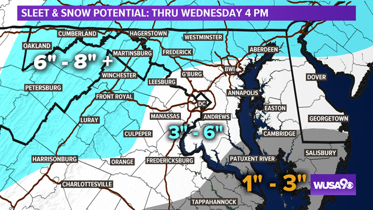 First Call For Snowfall For Wednesday 2/20, Published 5 PM Mon 2/18