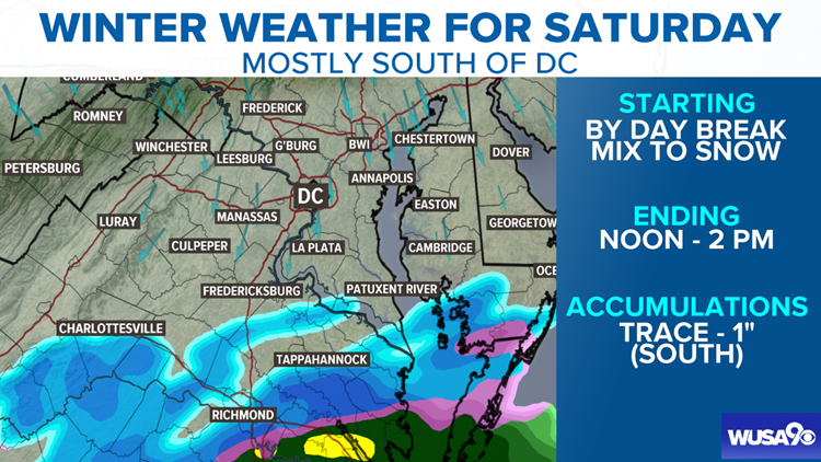 Snow and a mix south of D.C. Saturday, Snow focus now Tuesday night