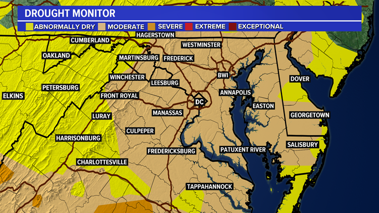 Rain on the horizon as drought expands across DC, MD, VA