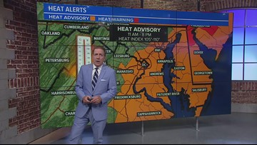 Severe storms moving into DC metro, Heat Index still above 100