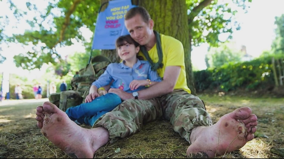 Man walks barefoot to raise money to help his daughter   Get Uplifted