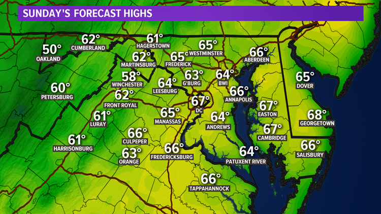 Cooler Easter Sunday with a passing afternoon shower