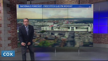 A few showers possible for the Nats game