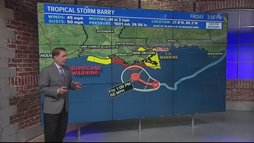 Tropical Storm Barry taking aim at Louisiana Coast with up to 10 to 20 inches of rain