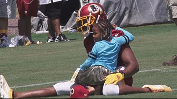 Josh Norman shares special moment with his daughter at training camp