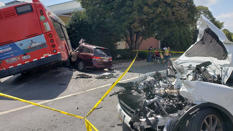 Two seriously injured in multi-vehicle crash involving WMATA bus