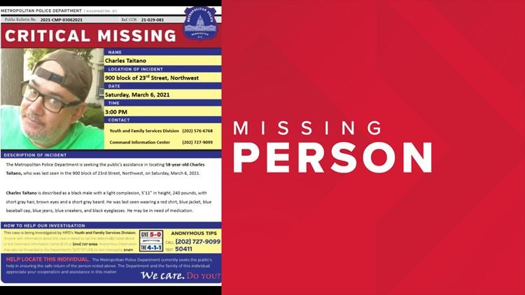 Missing people: DC police seek help finding Charles Taitano, Kanar Watson, Randolph Brewster Jr, Nehemiah Garcia
