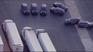 Raw Video: Police at scene of truck stop where abducted woman was rescued