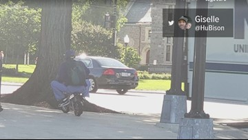 Man riding around on mini dirt bike