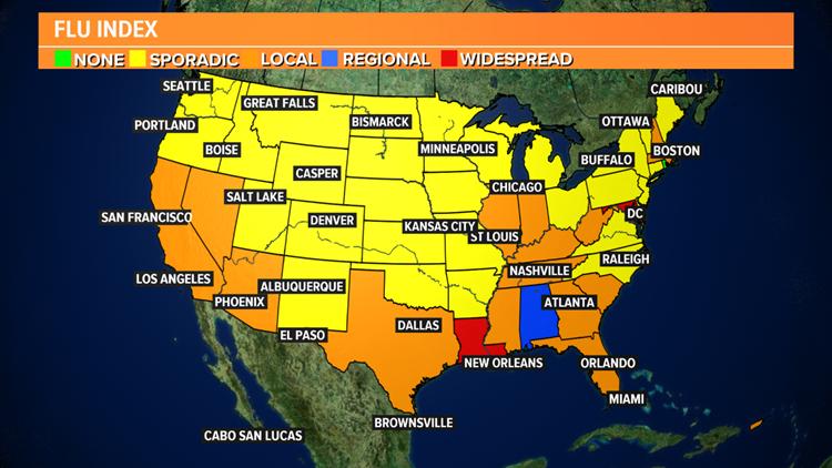 US Flu Index Map Week 44