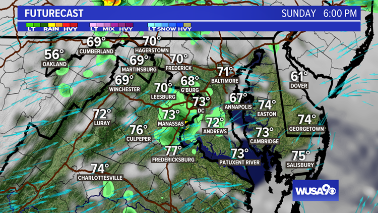 A few showers, storms Sunday afternoon. Here's the timing